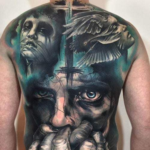 Creative Cross Back Tattoo Designs For Men