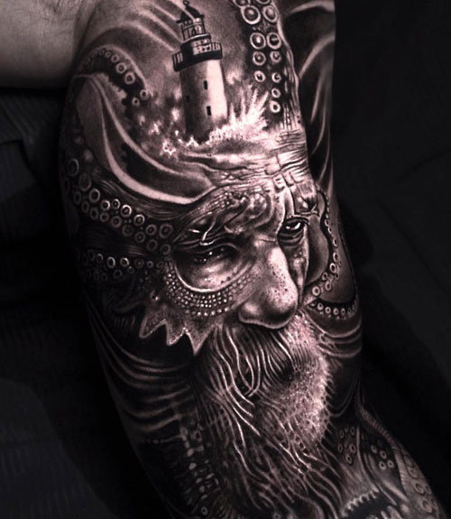 Creative Warrior Top Bicep Tattoo