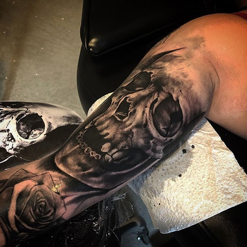 Full Bicep Skull Tattoo Design
