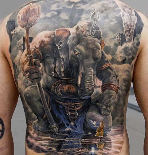 Ganesha Back Tattoo