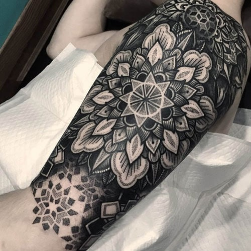 Geometric Black and Grey Half Sleeve Tattoo