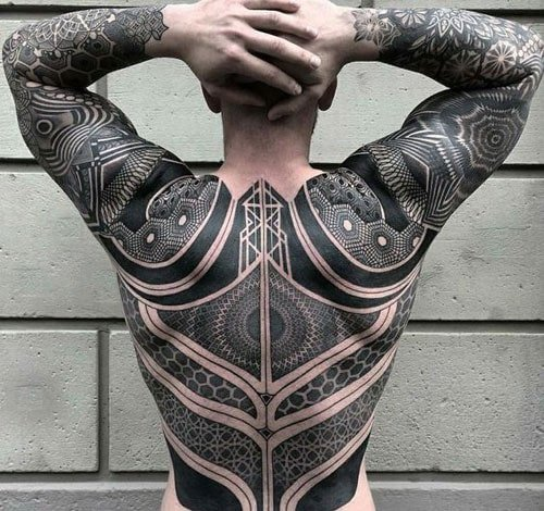 Geometric Full Back Tattoo Designs For Men