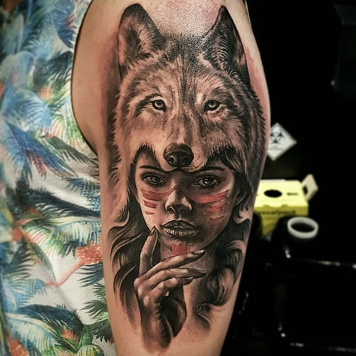 Indian Women Wolf Half Sleeve Tattoo
