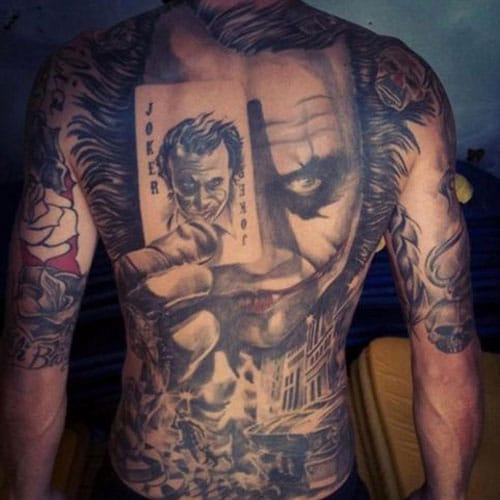 Joker Back Tattoo For Guys