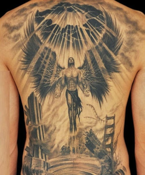 Meaningful Angel Back Tattoo Designs For Guys