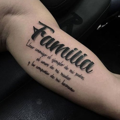 Meaningful Family Quote Bicep Tattoos