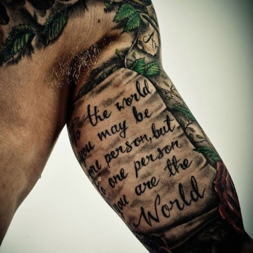 Meaningful Quote Inner Bicep Tattoo
