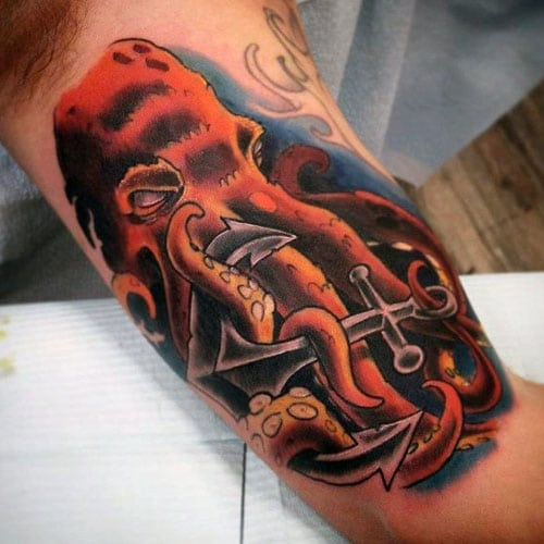 Men's Inner Bicep Octopus Anchor Tattoo