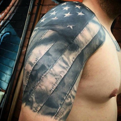 Patriotic American Flag Half Sleeve Tattoos
