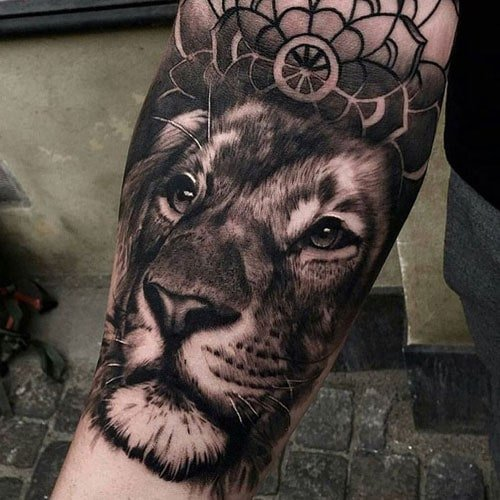 Realistic Lion Upper Forearm Tattoo Ideas