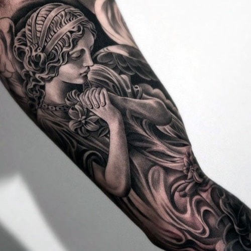Religious Angel Full Bicep Arm Tattoos