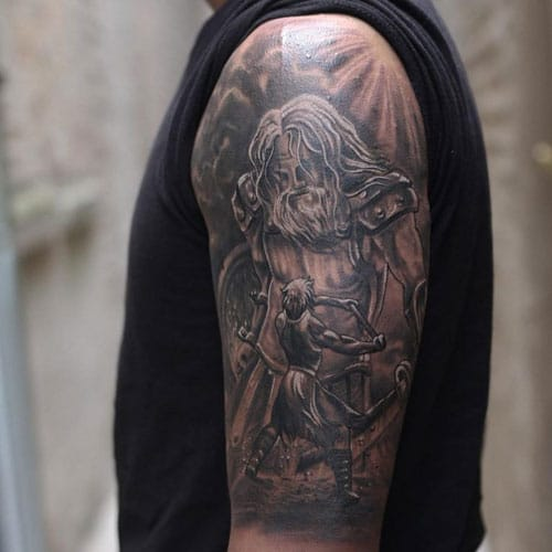 Religious Christian Angel Half Sleeve Tattoo Ideas