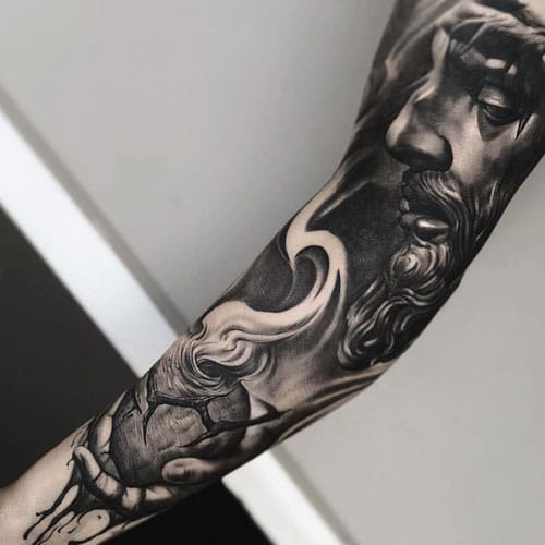 Religious God Full Inner Arm Tattoos