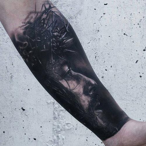 Religious Jesus Christ Forearm Tattoo