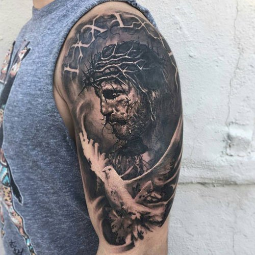 Religious Jesus Christ Half Sleeve Tattoos For Men