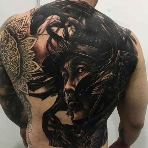 Samurai Warrior Back Tattoo
