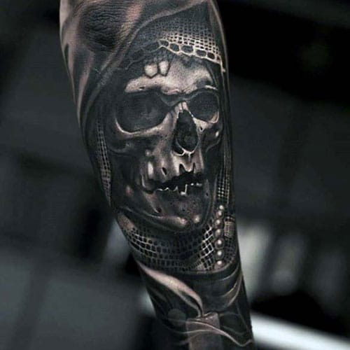 Scary 3D Skull Forearm Tattoos