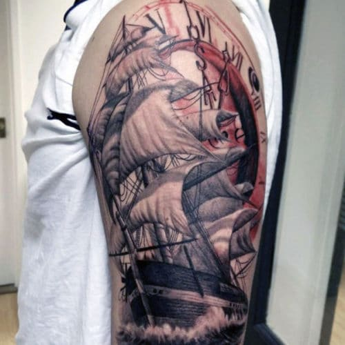 Ship Sailing Half Sleeve Tattoo Designs For Men
