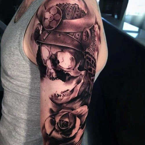 Skeleton Warrior Shoulder Arm Tattoo