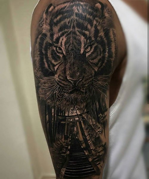 Tiger Half Sleeve Tattoo Ideas For Guys