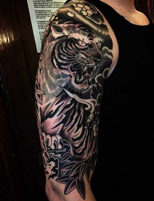 Tiger Upper Arm Sleeve Tattoo Designs