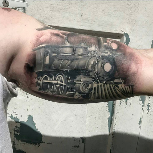 Unique Train Bicep Tattoo Ideas For Guys