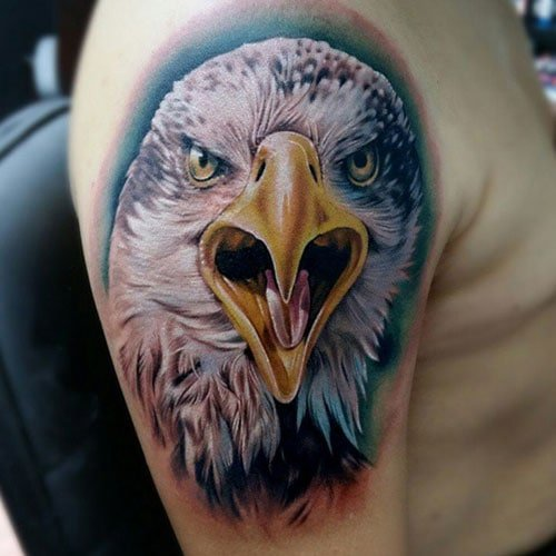 Upper Arm Half Sleeve Eagle Tattoo