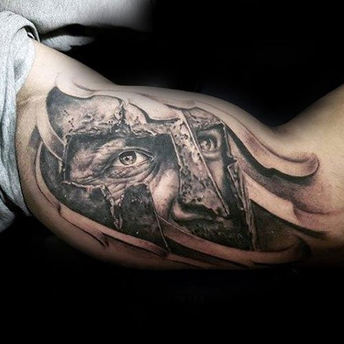 Warrior with Helmet Bicep Tattoo