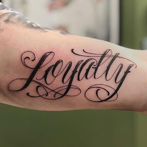 Word Bicep Tattoos