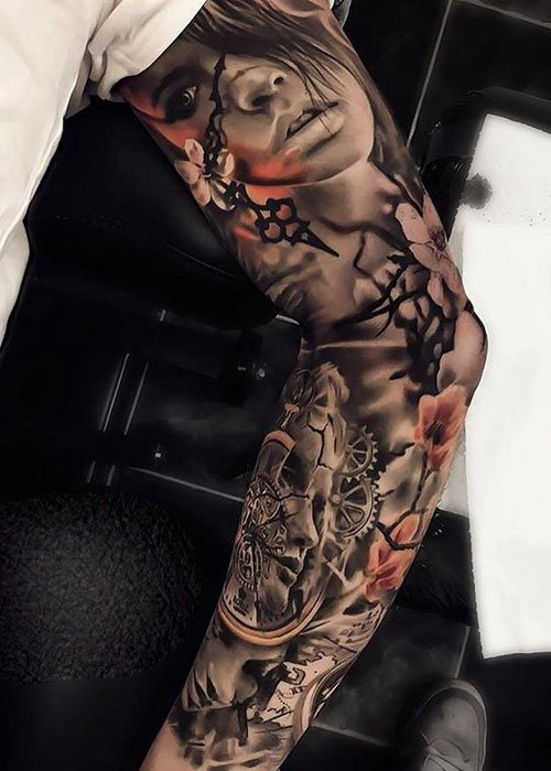 Amazing Portrait Sleeve Tattoo