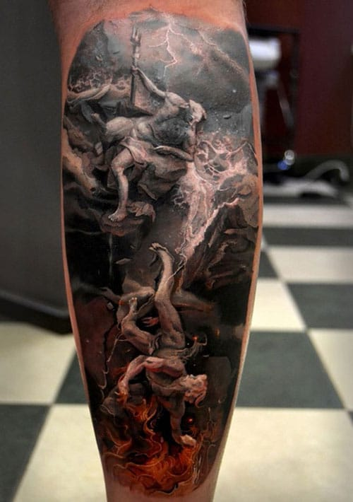 Badass Angel vs Demon Leg Tattoo For Men