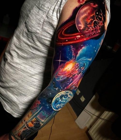 Badass Colorful Space Sleeve Tattoo