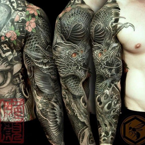 Badass Full Sleeve Dragon Tattoos