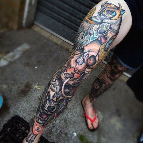 Badass Whole Right Leg Tattoo Designs