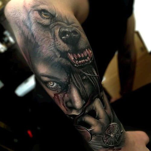 Badass Wolf Sleeve Tattoo on Right Arm