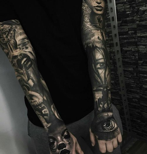 All Black Tattoo Sleeve: 125 Best Sleeve Tattoos For Men: Cool Ideas + Designs