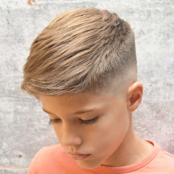 Boys Short Hair Side Swept with Fade Haircut on Sides