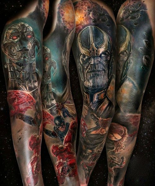 Captain America Thanos Full Sleeve Tattoo Design Ideas