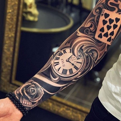 Clock Money Rose Card Sleeve Tattoo