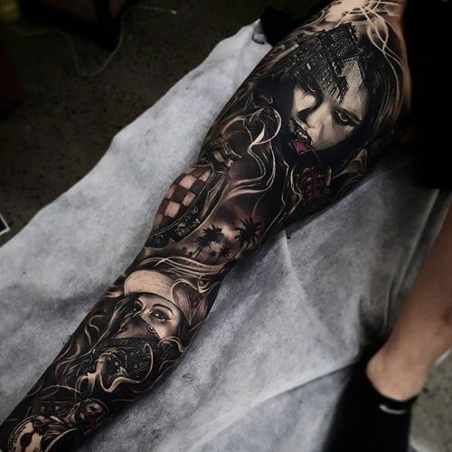 Cool 3D Leg Tattoo Designs