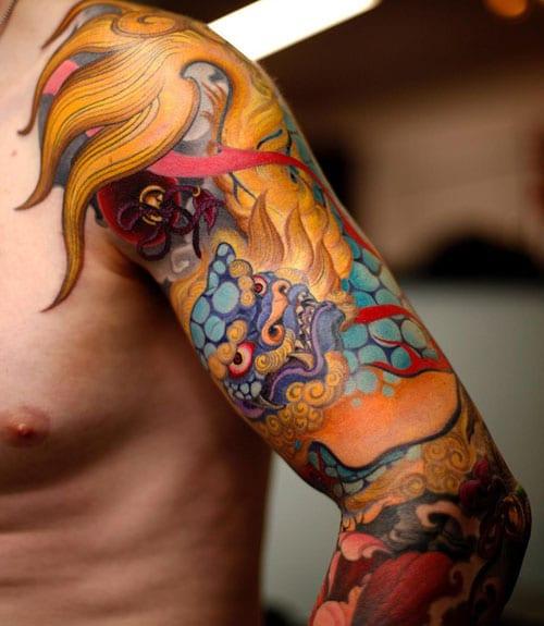 Cool Dragon Sleeve Tattoo
