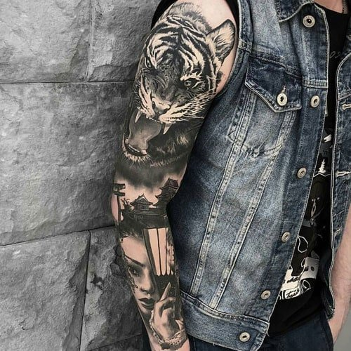 Cool Full Sleeve Realistic Tiger Tattoo