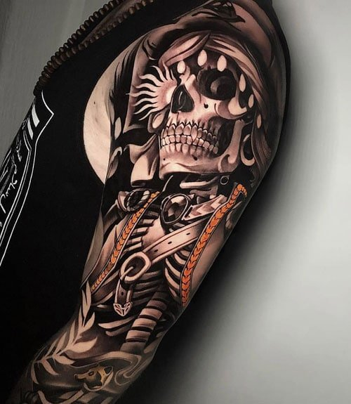 Cool Skull Sleeve Tattoo