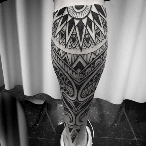 Cool Tribal Calf Tattoo