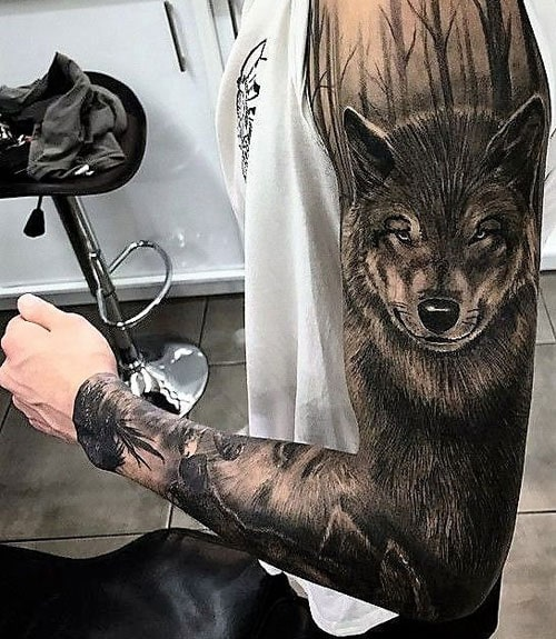 Cool Wolf Sleeve Tattoo Designs