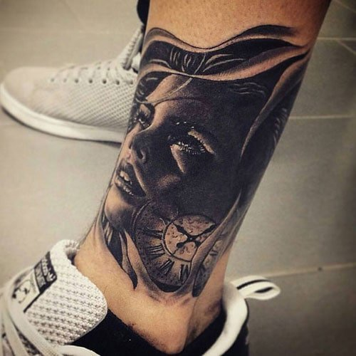 Creative Lower Shin Leg Tattoo