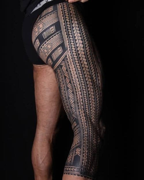 Full Leg Tribal Tattoo