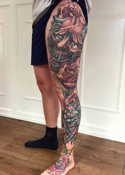 Full Side Leg Tattoo