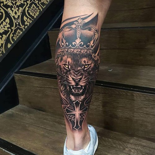 Lion Crown Calf Leg Tattoo