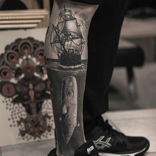 Lower Leg Sleeve Tattoo